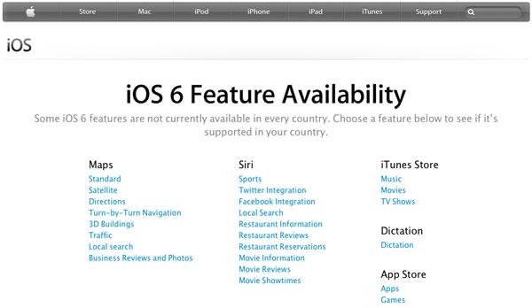 iOS 6 elenco funzioni per paese