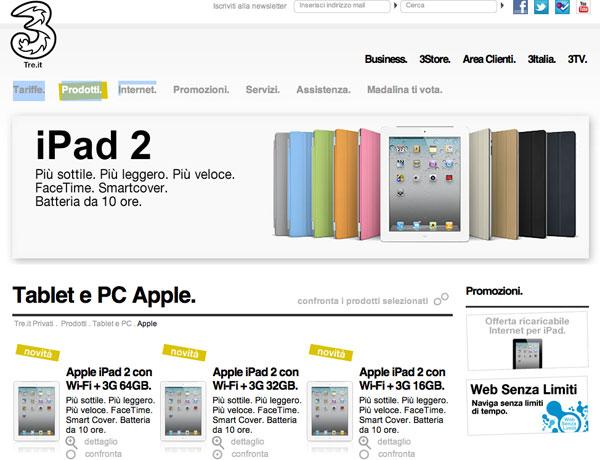 iPad 2 con 3