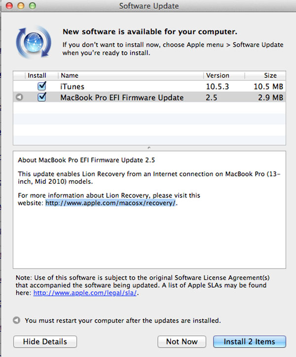 EFI 2.5 Lion Internet Recovery update