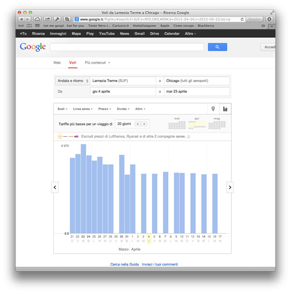 esempio Google Flights