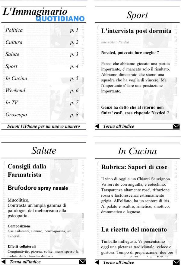 Immaginario Quotidiano iphone e touch screenshots