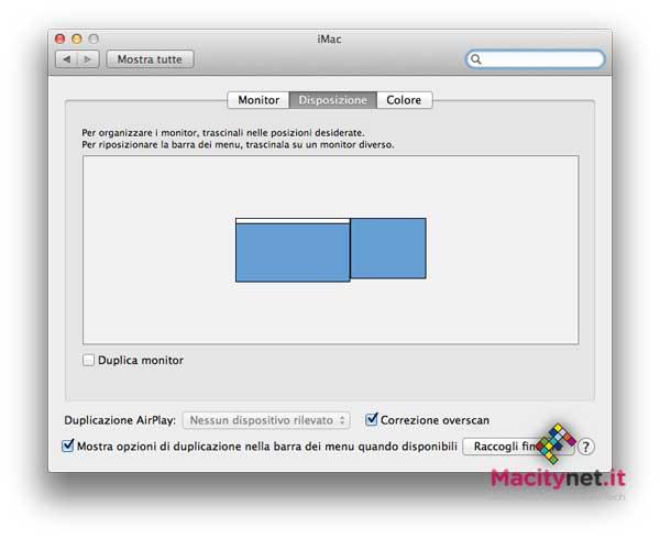 Preferenze Monitor Mountain Lion con due schermi