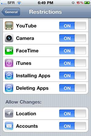 Restrizioni iOS 4.2 beta