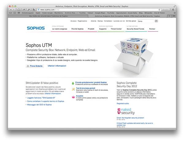 Sito web Sophos