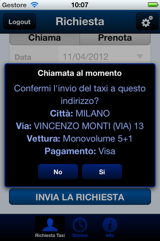TaxiMilano per iPhone
