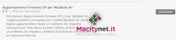 Aggiornamento EFI per MacBook Air 2012