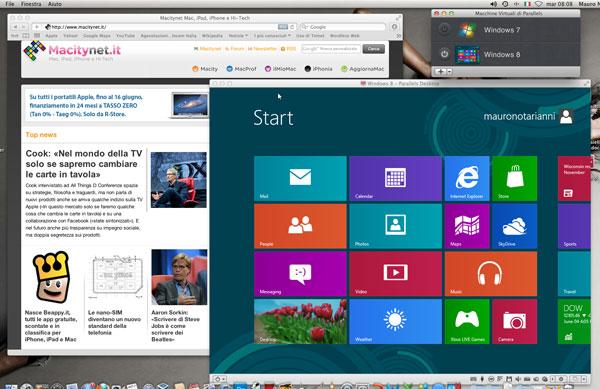 Windows 8 virtualizzato in Parallels Destkop