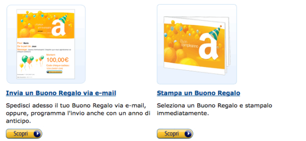 Buoni regalo da mandare via email o stampare for Codici regalo amazon