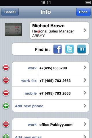 ABBYY Business Card Reader
