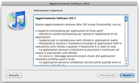 aggiorna iOS 4