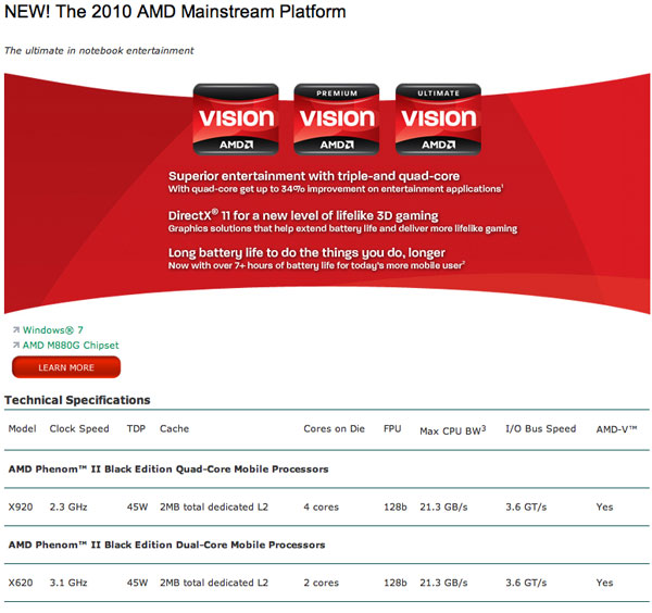 AMD lineup cpu mobile 2010