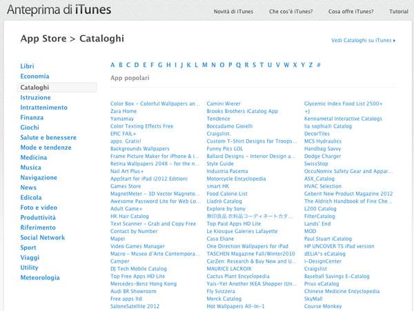 App Store cataloghi