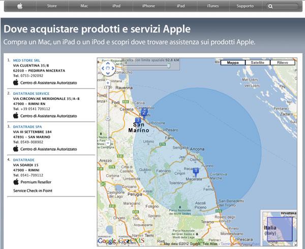Apple localizzatore servizi e negozi