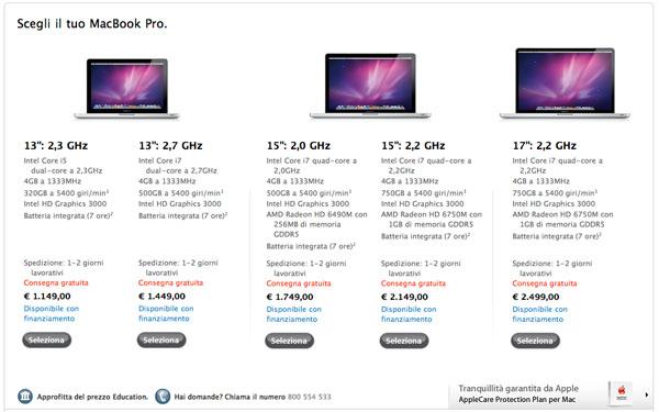 Apple Store online nuovi MacBook Pro
