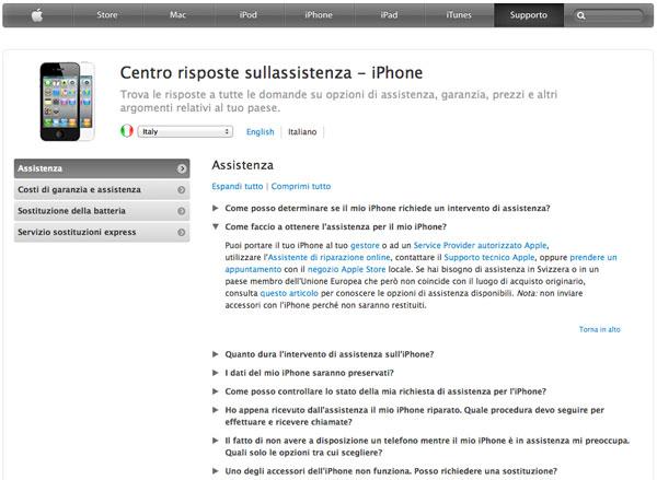 Assistenza Apple iPhone