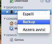 backup prima di iOS 4