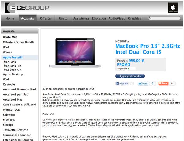 CE Group: MacBook 13'' 999 euro