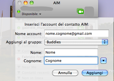 come connettere un account Gtalk con un account iChat direttamente