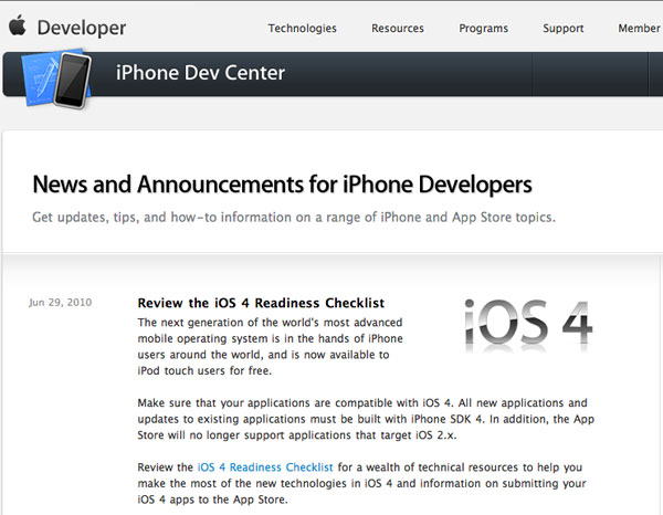 iOS developer Apple