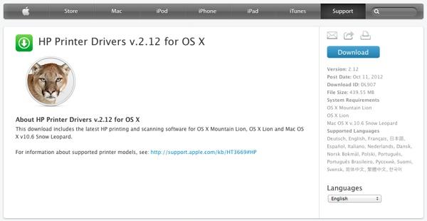 Apple aggiornamento driver stampanti