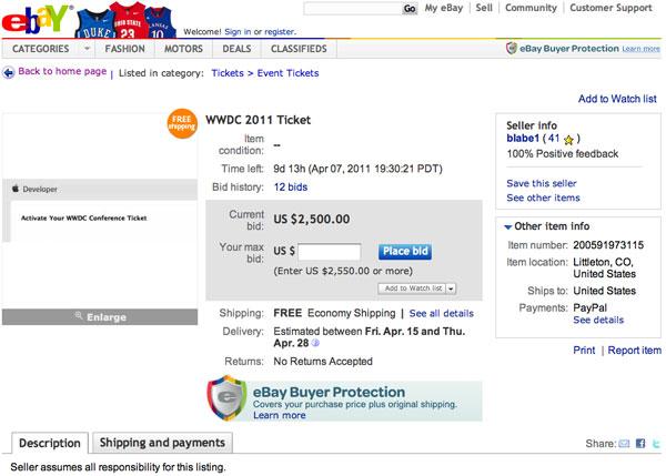 WWDC biglietto asta ebay