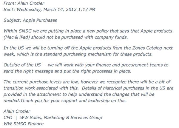 Microsoft email Crozier ZDNet blocco Mac e iPad