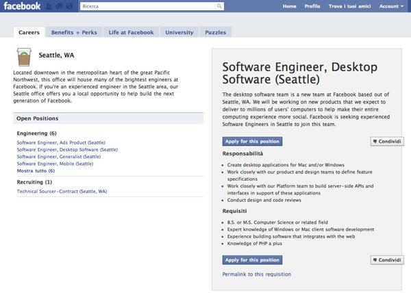 Facebook ricerca personale