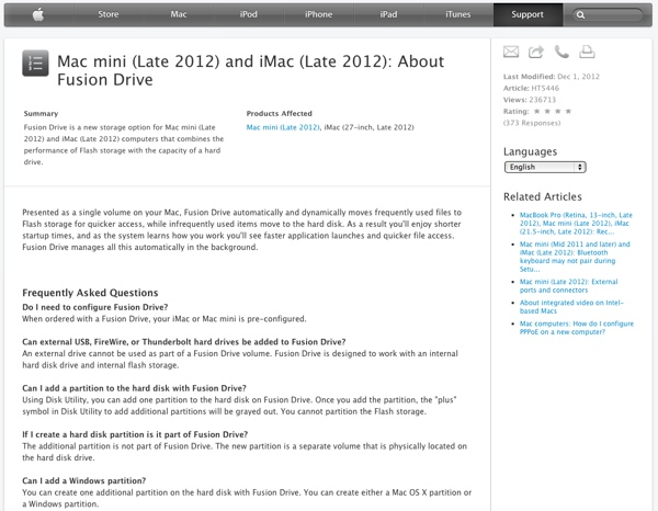 fusion drive note tecniche apple