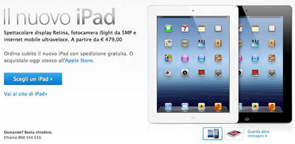 nuovo ipad apple store