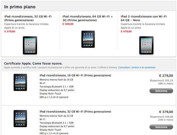 ipad ricondizionati Apple Store