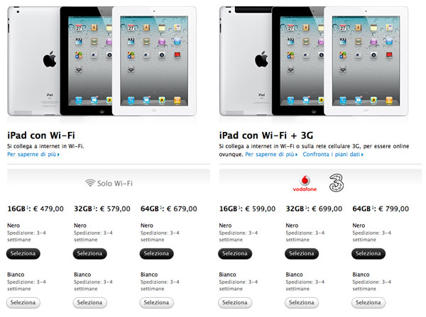 iPad 2 3-4 settimane