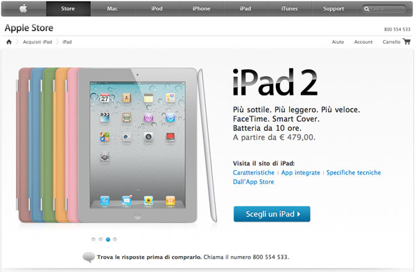 iPad 2 apple store italia