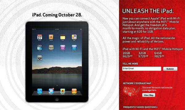 iPad Verizon 28 ottobre