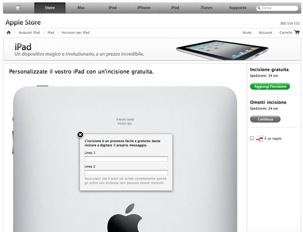 iPad incisione laser