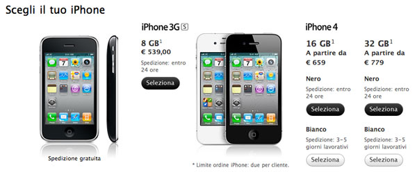 Apple Store online iPhone 4 bianco