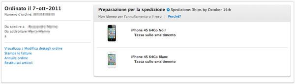 iPhone 4S - pronto per la spedizione in Francia