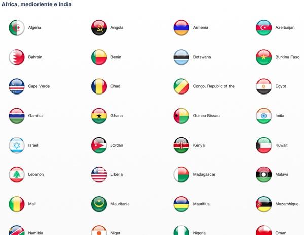 itunes store elenco paesi