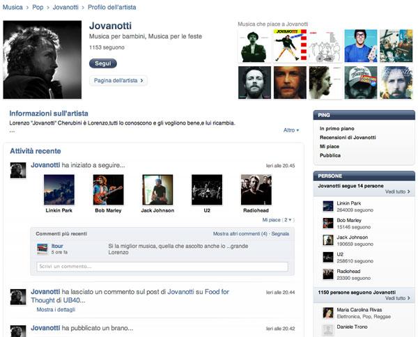 Jovanotti iTunes Ping