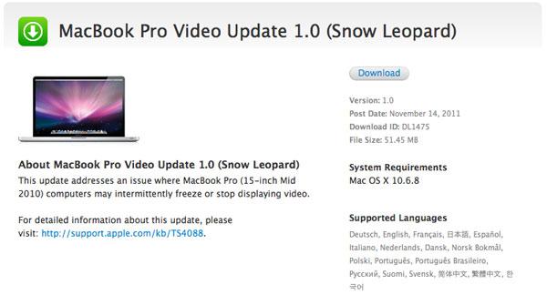 MacBook Pro update video