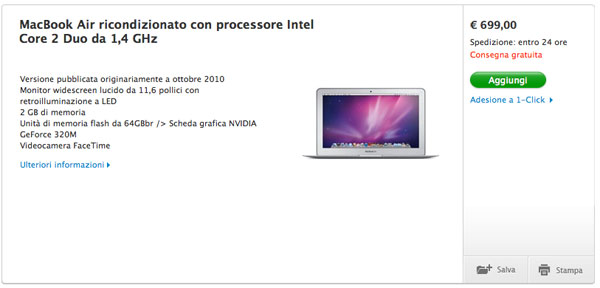 MacBook Air da 699 euro - ricondizionati Apple Store online