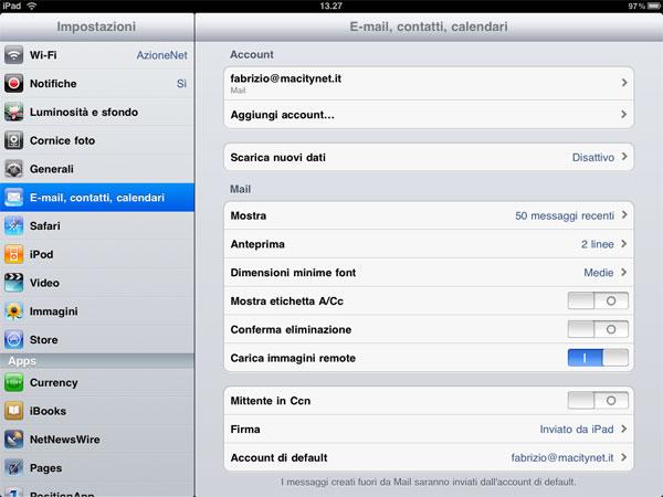 settaggi mail ipad