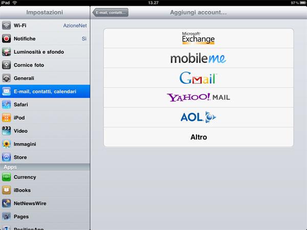 configurazione mail ipad