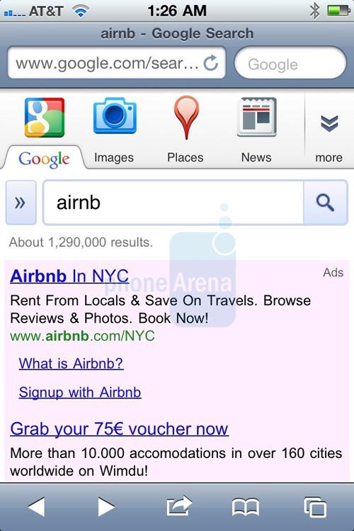nuova pagina google search iOS