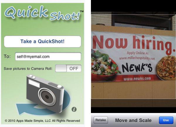 QuickShot iphone screenshots