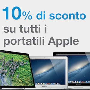 10% sconto portatili Apple