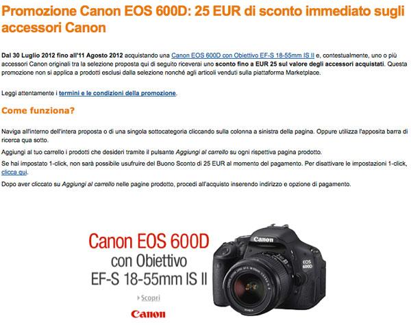 sconto accessori canon eos 650d