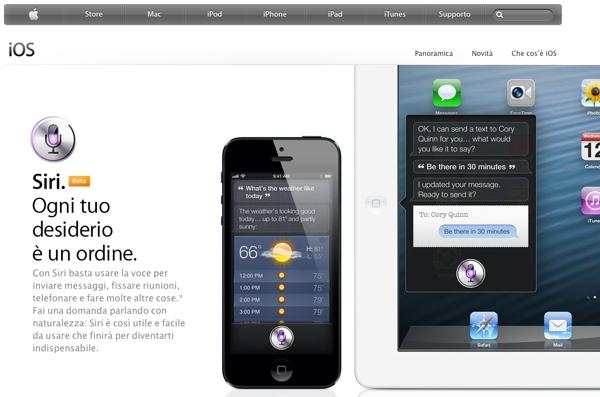 Siri sito Apple