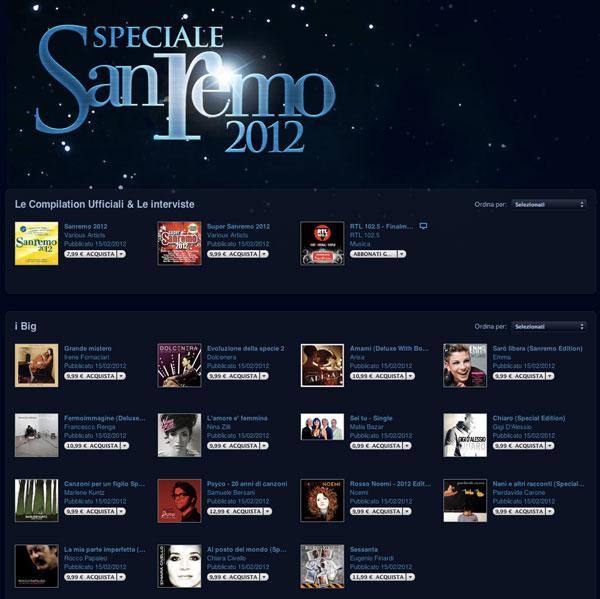 speciale festival sanremo iTunes