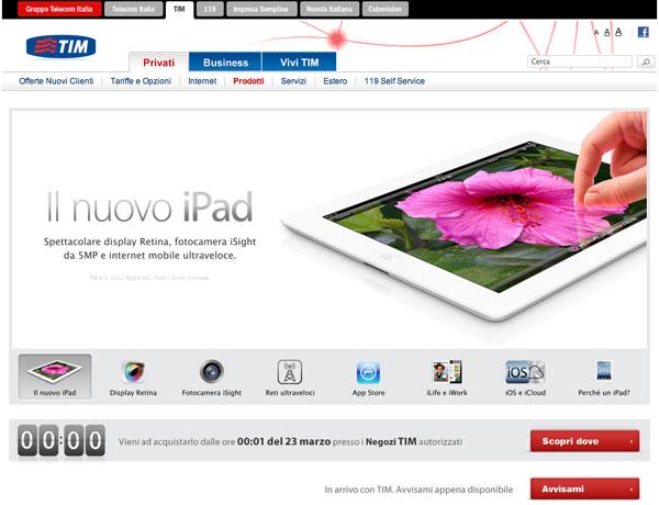 Tim nuovo iPad