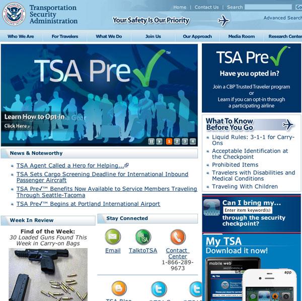 TSA sito web home